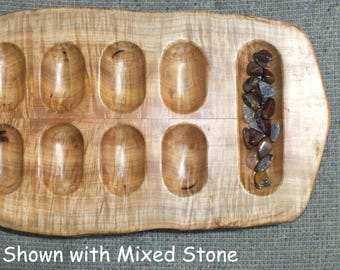 Primitive Mancala Game Board in Norway (Tiger) Maple - handmade from US grown reclaimed hardwood NM17003