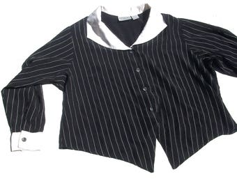 Pin Stripe Top | plus size womens vertical striped black and white collar long sleeve button up minimalist chic XXL 18 2X blouse vintage 3x