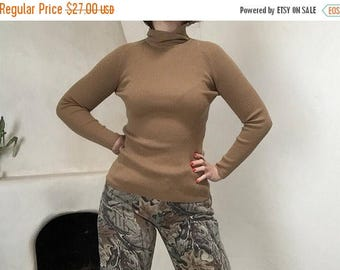 final 2017 MASSIVE SALE Ribbed Turtle Neck | 70s vintage stretch to form LEROY long sleeve authentic womens unisex knit sweater S M L