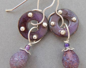 Earrings, Hand Enameled with Czech glass beads