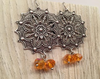 Exotic Boho Chic Flower Filigree Focal Fashion Statement Earrings Golden Orange beads Chandelier Dangling