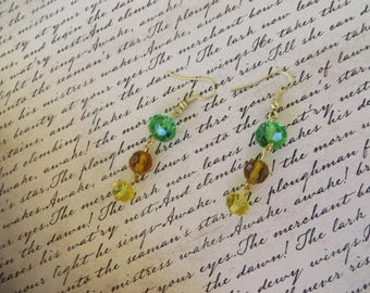 Autumn Colors Green Amber And Yellow Crystal Dangling Earrings