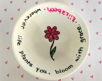 Tiny Text Bloom Bowl .|. Hand Painted Key Holder .|. Valentine Dish .|.  Engagement Dish .|. Personalized Name .|.  Minimalist Drawing