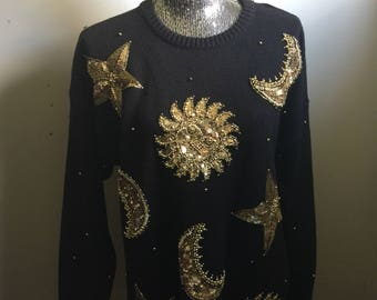Vintage 90s Beaded Celestial Sun Moon and Stars Tunic Sweater