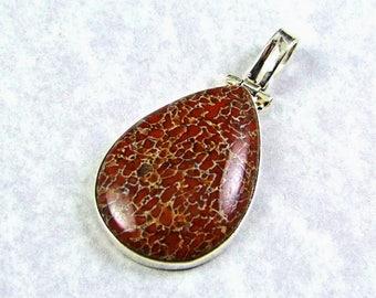 Gorgeous Red Utah Dino Bone Sterling Silver Pendant - N913