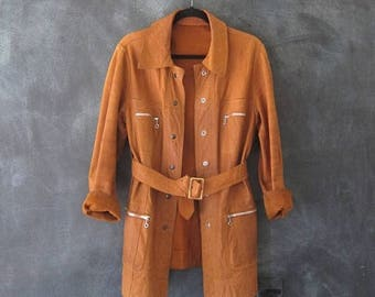 15% Off Out of Town Sale 60s Deerskin Trench Coat Reversible Boho Hippie Leather Buttery Soft Jacket Mens Size S/M, Ladies M/L