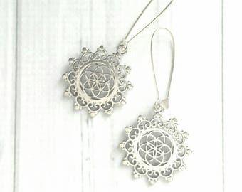 Boho Medallion Earrings - silver long locking kidney ear hooks - intricate round flourish swirl lace doily style filigree Bohemian floral