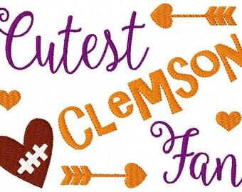 Embroidery Design, Clemson // Football // Cutest Fan //  // Sports Embroidery Design // Bonus Included // Joyful Stitches
