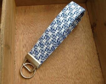 Key Chain Wristlet Key Blue  White Print Fabric