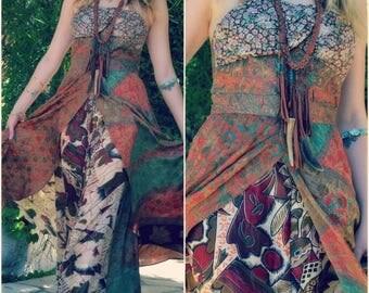 XMAS IN JULY Octavia Gown /// Silk Flow Dress /// Vintage Saree Print  /// one of a kind /// Medium