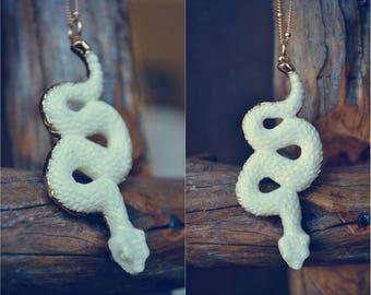 XMAS IN JULY Snake Necklace  ///  Handcrafted Bone Necklace /// 24kt Gold Electroformed Bone