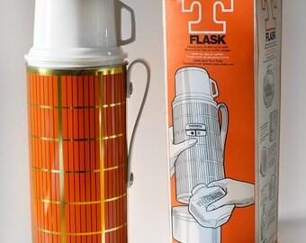 Vintage Thermos Flask Orange Picnic Drink Big T