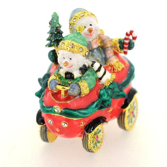 Red Snowman In Sleigh Christmas Trinket Box