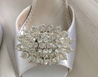 Wedding Shoes - Bling - Shoe Clips - Handmade Shoe Clips - Rhinestone Shoe Clip - Shoe Decoration - Handmade Wedding - Shoe Clip By Parisxox