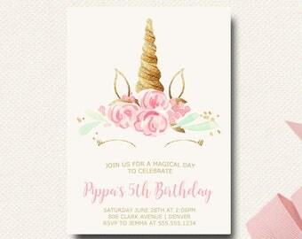 Unicorn Invitation | Unicorn Birthday Invitation Invitations | Unicorn Cake | Magical Unicorn Invites | Printable | Girls Digital