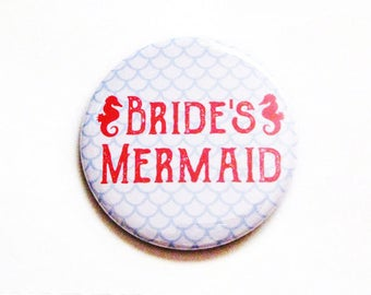 Bachelorette Party Favors Brides Mermaid Pinback Buttons Wedding Accessories