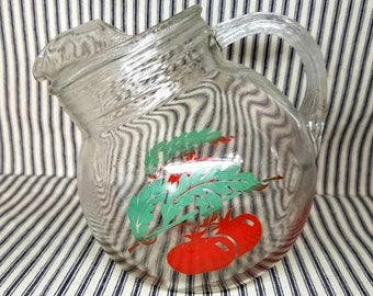 Yearly Big Sale: Vintage Anchor Hocking Tilt Ball Juice Pitcher, Tomato Graphic Retro Decanter