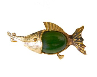"Vintage Etched Gold Filled Jade Marlin Swordfish Brooch Pendant - Jadeite Nephrite Belly - Open Back - Mid Century - 2"" Long"