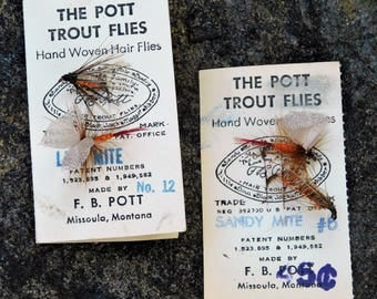 Vintage Fishing Flies-Hand Tied Flies-Trout Flies-Pott-Pott Trout Flies-Hand Woven-Fly Fishing-Fishing Tackle