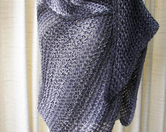Hand knit Asymmetrical Shawl Triangle Scarf Wrap in Black White Gray / Color Block Stripes