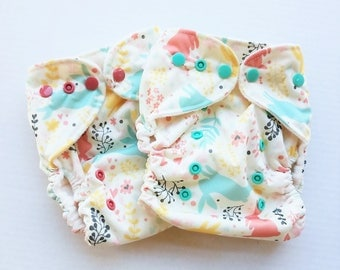 One Size, cloth diaper cover, fleece lined PUL with AI2 option, spring, easter, bunnies, pastel