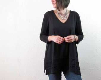 Tunic - Black Bamboo Cotton Knit - With Pintucks and Pockets