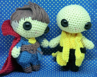 Doctor Strange and Ancient One amigurumi style PDF crochet patterns inspired by MCU