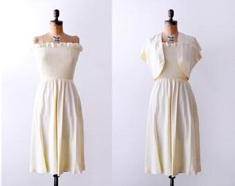 1940's Yellow Sundress. pastel. 40's dress with bolero. small. light yellow. Ruffled.