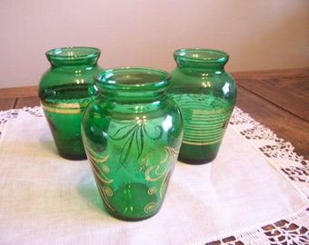 Emerald Green Glass Trio, Instant Collection, Vintage 50s Posy Vases, Anchor Hocking Glass Flower Vases