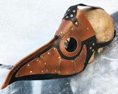 Black & Brown Faux Leather 'PLAGUE DOCTOR'  Steampunk Mask with Gold Rivets and Buckle Straps - A Burning Man Must Have