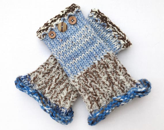 Fingerless Mitts - Frosty Morning Frilly Fingers - Fingerless Wrist Warmers - icy blue brown fingerless mittens - fingerless gloves cold day