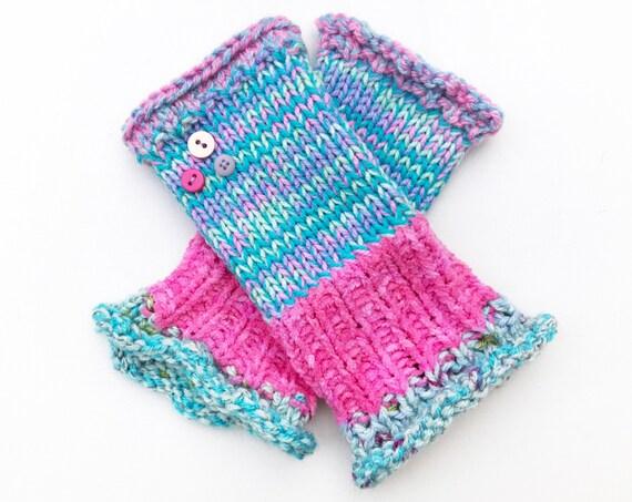 Fingerless Glove - Bubblegum Frilly Fingers - Blue, Lavender and Pink Fingerless Gloves Hand Warmer Mittens - Pink Ladies Fingerless Mittens
