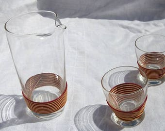 Vintage Awesome Wrapped Retro Carafe Set Juice Set with 2 Glasses