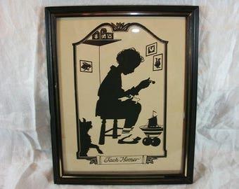 Vintage Adorable Print Of Little Jack Horner Who Sat In A Corner Dog Ship Rabbit Duck Rooster