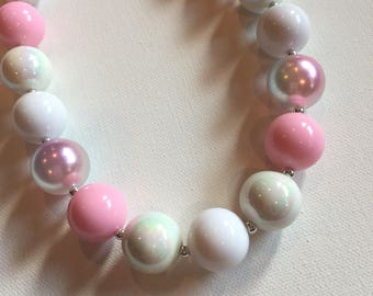 Little Girl Necklace - Pink Birthday Necklace - Chunky Necklace - Little Girl Bubble gum Necklace - Pretty in Pink Necklace