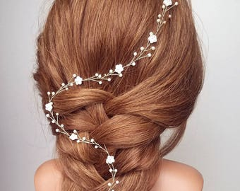 Bridal Hair Vine, Floral Vine, Wedding Halo, Beaded Hair Piece, Flower Headpiece, Vine Tiara, Wedding Hair Vine, Pearl Vine