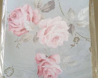 Vintage wallpaper kit c1900 to c1940 Shabby cottage home DIY mixed media art repurpose SVF roses flocked pink summer florals romantic papers