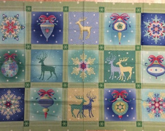 A Wonderful Christmas Holiday Winterscapes By Benartex Cotton Fabric Panel Free US Shipping