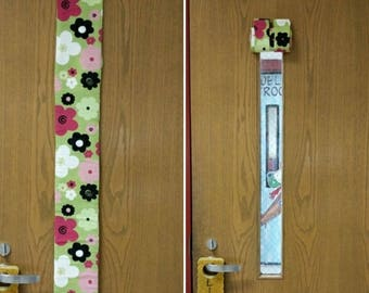 Classroom Roll Up Door Window Curtain with Tab Tops and Velcro Holders, Teacher, School, Classroom Supplies, Custom Made, Decor