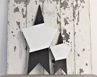 Tall Neutral Black and White Stripe wooden Star rustic decor Boho Abstract Design Scandinavian nursery kids bedroom