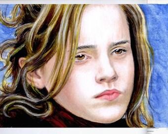 Hermione Granger Harry Potter Emma Watson Original Art ACEO portrait miniature hand drawn sketch card