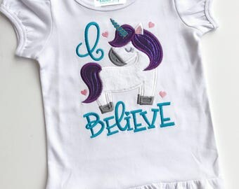 Unicorn applique shirt I believe girls top embroidered toddler size 2t 4t 6