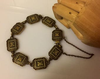 True damascene vintage panel bracelet with safety chain