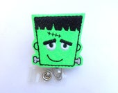 Halloween Badge Reel - ID holder retractable - Fun Frankenstein - neon green glitter vinyl monster - medical staff teacher nurse badge