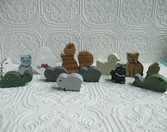 Vintage Handmade Wooden Animals Assorted Shelf Sitters Miniature set of 13  - Wood Folk Art