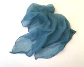 teal blue sheer chiffon scarf 20 inch square 50s vintage hair scarf