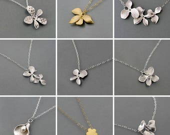 Dainty flower necklace, silver or gold necklace, floral jewelry gift for her