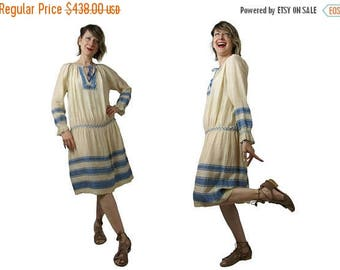 Summer Sale 1920s Hungarian Embroidered Silk Pongee Peasant Dress