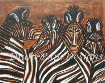"""NEW! Top Quality 18"""" x 24"""" Signed Print of My Original Oil Painting, """"Bar Crowd"""", Zebras, Bar or Office Decor, Child's Room, African Animal"""