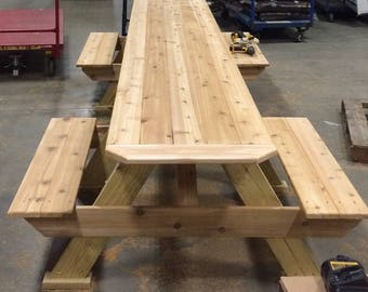 Handcrafted Cedar Wheel Chair Accessible Picnic Table / Meets ADA Standards